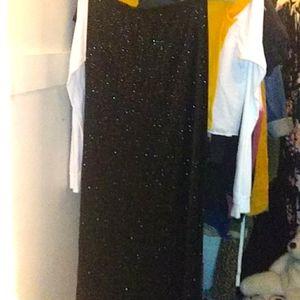 Long black sparkly skirt